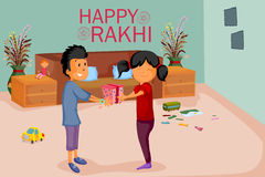 Brother and Sister tying Rakhi on Raksha Bandhan. In vector Royalty Free Stock Image