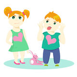 Brother and sister. Vector illustration of two small children. Each object is separately layered and grouped. Royalty Free Stock Photos