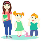 Brother and 2 sister. Vector illustration of two small children and one teen girl Stock Image