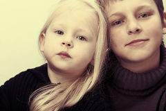 Brother and sister. Vintage style. Royalty Free Stock Photography
