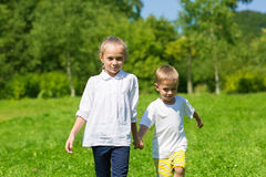 Brother and sister walk on the grass Stock Images