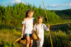 Brother and sister on walk Royalty Free Stock Photography