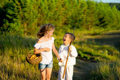 Brother and sister on walk Royalty Free Stock Image