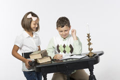 Brother and sister write letter Royalty Free Stock Photo
