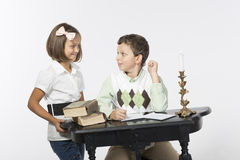 Brother and sister write letter Stock Photo