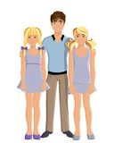 Brother and sisters. Brother and two twin sisters young kids teenagers portrait on white background vector illustration Stock Photos