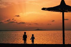 Brother sunset royalty free stock photo