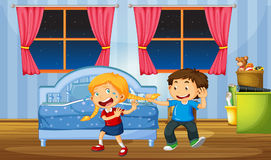 Brother teasing sister in bedroom. Illustration Stock Photo