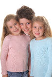 Brother with twin sisters vertical Royalty Free Stock Photography