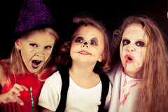 Brother and two sisters on  Halloween Stock Photo