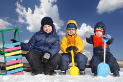 brother in winter game Royalty Free Stock Photos