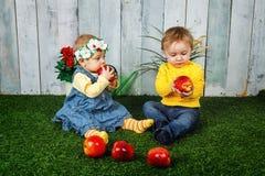 Brother y hermana que juegan en césped Foto de archivo libre de regalías