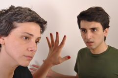 Brother yelling to sister Stock Photo
