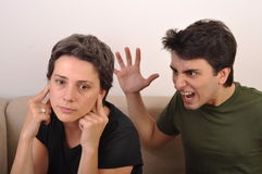 Brother yelling to sister Royalty Free Stock Image