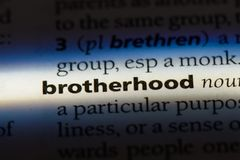 Brotherhood. Word in a dictionary.  concept stock image
