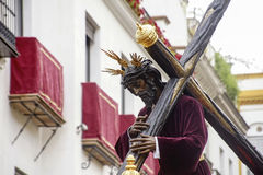Brotherhood of Christ of the Gypsies, Semana Santa in Seville. Step of mystery of the brotherhood of the gypsies through the streets of Seville in its holy week Royalty Free Stock Images