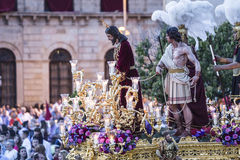 Brotherhood of Jesus corsage making station of penitence in front at the town hall, Linares, Jaen province, Andalusia, Spain royalty free stock photos