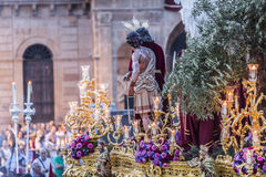 Brotherhood of Jesus corsage making station of penitence in front at the town hall, Linares, Jaen province, Andalusia, Spain royalty free stock images