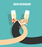 Brotherhood to drink alcohol. Man and woman drinking champagne. Stock Image