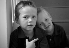 Brothers. Black and white portrait of two little boys Royalty Free Stock Photo