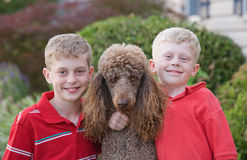 Brothers. With Their Standard Poodle Stock Image
