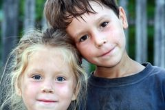 Brothers. A little boy and a liitle girl Stock Photography
