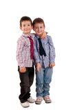 Brothers. Fraternal twins isolated on white background Royalty Free Stock Photos