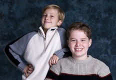 Brothers. Two brothers posing for a portait. Bonding, friendship, togetherness, love Stock Photos
