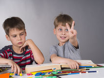 Brothers as pupils Stock Image