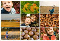 Brothers and autumn - koncept. Brothers having fun and enjoying the autumn specifics Stock Image
