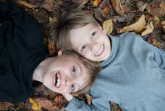 Brothers on Autumn leaves Stock Photo