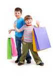 Brothers with bags Royalty Free Stock Images