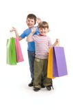 Brothers with bags Royalty Free Stock Image