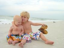 Brothers on Beach Royalty Free Stock Photos