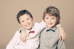 Brothers during Christmas Royalty Free Stock Photography