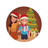 Brothers in christmas cartoon. Icon vector illustration graphic design Stock Images