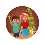 Brothers in christmas cartoon. Icon vector illustration graphic design Royalty Free Stock Photography