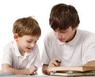 Brothers does lessons Royalty Free Stock Photography