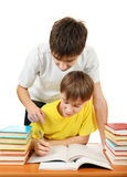 Brothers doing Homework Royalty Free Stock Photos