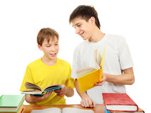 Brothers doing Homework Stock Images