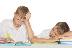 Brothers doing homework Royalty Free Stock Photos