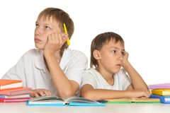 Brothers doing homework Royalty Free Stock Image