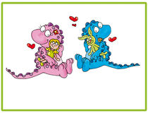 Brothers dragons colored illustration humorist button or icon for website Stock Photo
