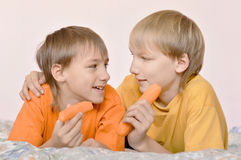 Brothers  eating a carrot Stock Images