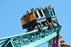 Brothers enjoying terrific Cobra`s Rollercoaster at Bush Gardens Theme Park. stock images