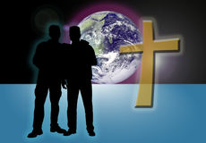 Brothers in Faith. Illustration of two mail friends silhouettes with world and cross in background Stock Photography