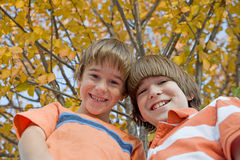 Brothers in the Fall. Brothers Smiling Big in Front of a Fall Tree Stock Photography