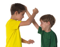Brothers fighting - simulation Stock Photo