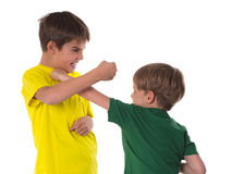 Brothers fighting - simulation Stock Photos