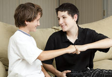 Brothers Fist Bump stock images